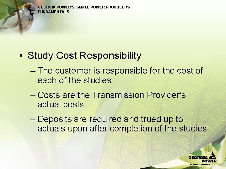 GEORGIA POWER'S SMALL POWER PRODUCERS FUNDAMENTALS • Study Cost Responsibility – The customer is