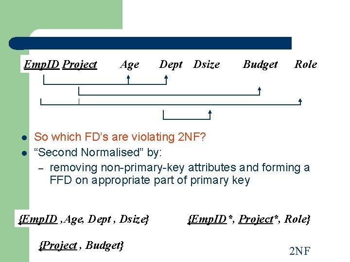 Emp. ID Project l l Age Dept Dsize Budget Role So which FD's are