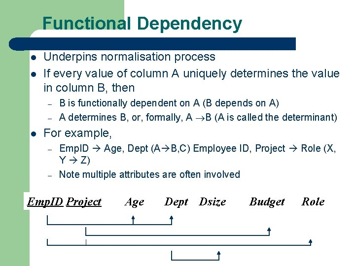Functional Dependency l l Underpins normalisation process If every value of column A uniquely