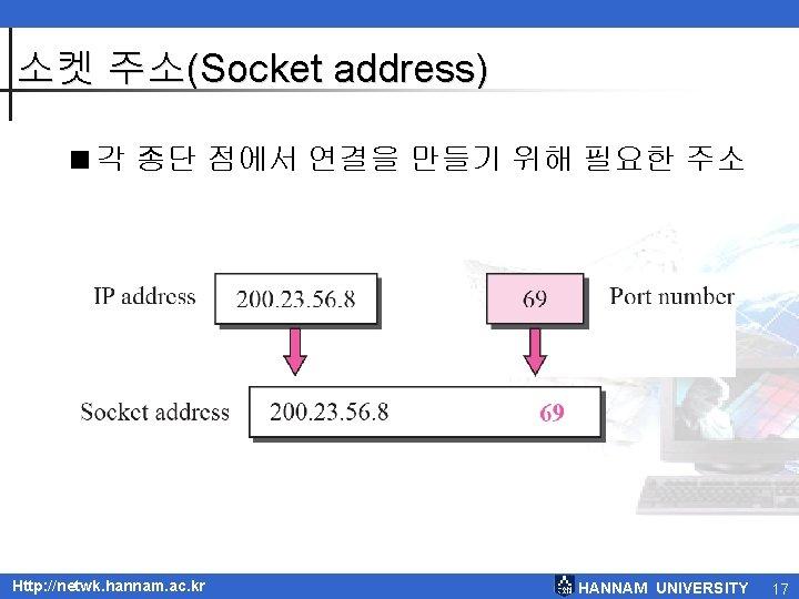 소켓 주소(Socket address) <각 종단 점에서 연결을 만들기 위해 필요한 주소 Http: //netwk. hannam.