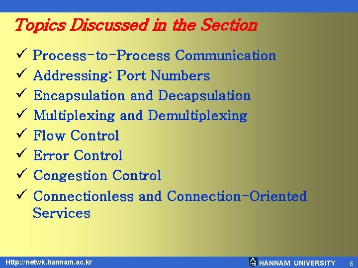 Topics Discussed in the Section ü Process-to-Process Communication ü Addressing: Port Numbers ü Encapsulation