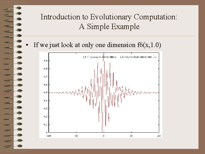 Introduction to Evolutionary Computation: A Simple Example • If we just look at only