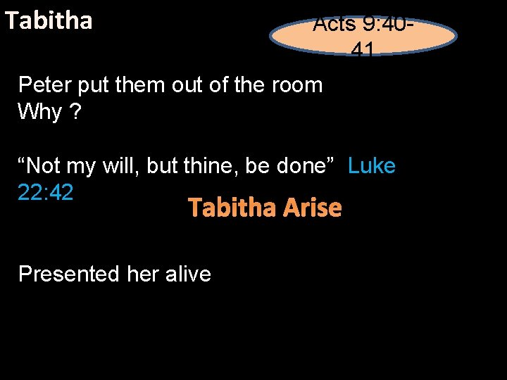 """Tabitha Acts 9: 4041 Peter put them out of the room Why ? """"Not"""