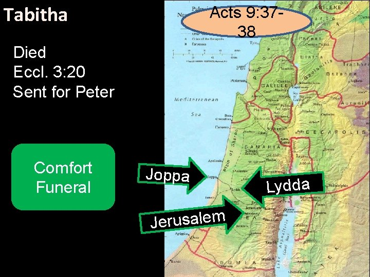 Tabitha Acts 9: 3738 Died Eccl. 3: 20 Sent for Peter Comfort Funeral Joppa