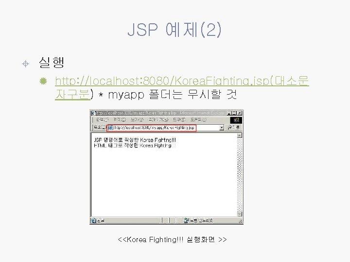JSP 예제(2) ± 실행 ® http: //localhost: 8080/Korea. Fighting. jsp(대소문 자구분) * myapp 폴더는
