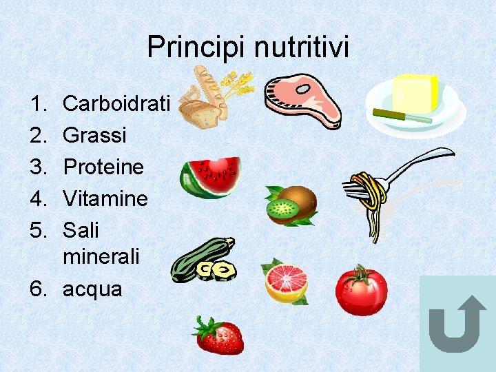 Principi nutritivi 1. 2. 3. 4. 5. Carboidrati Grassi Proteine Vitamine Sali minerali 6.