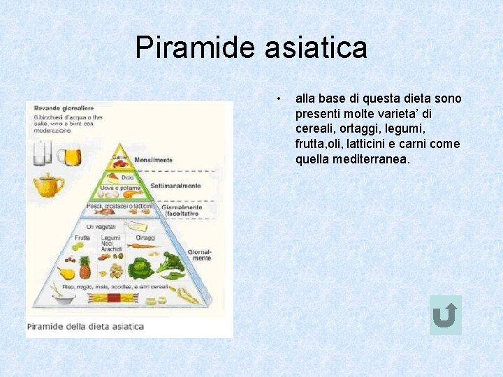 Piramide asiatica • alla base di questa dieta sono presenti molte varieta' di cereali,