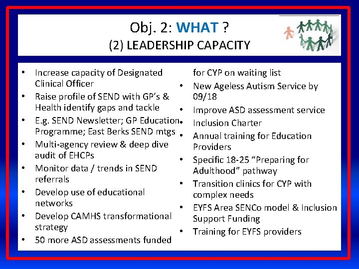 Obj. 2: WHAT ? (2) LEADERSHIP CAPACITY • Increase capacity of Designated Clinical Officer