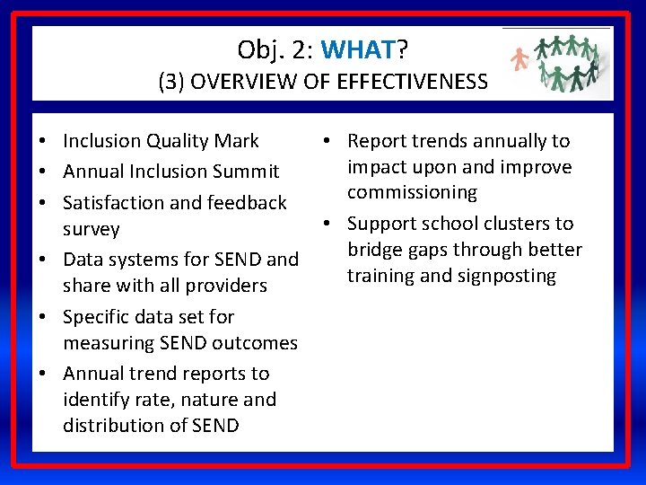 Obj. 2: WHAT? (3) OVERVIEW OF EFFECTIVENESS • Inclusion Quality Mark • Annual Inclusion