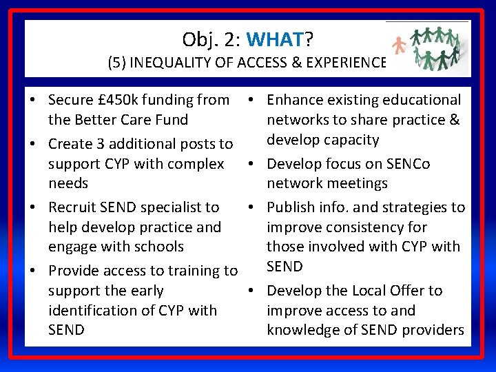 Obj. 2: WHAT? (5) INEQUALITY OF ACCESS & EXPERIENCE • Secure £ 450 k