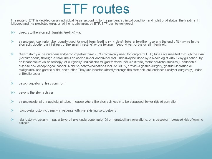 ETF routes The route of ETF is decided on an individual basis, according to