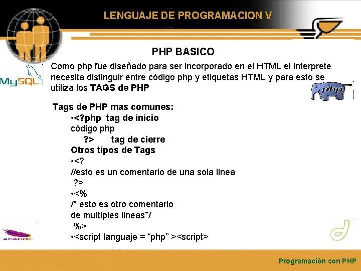 LENGUAJE DE PROGRAMACION V PHP BASICO Como php fue diseñado para ser incorporado en