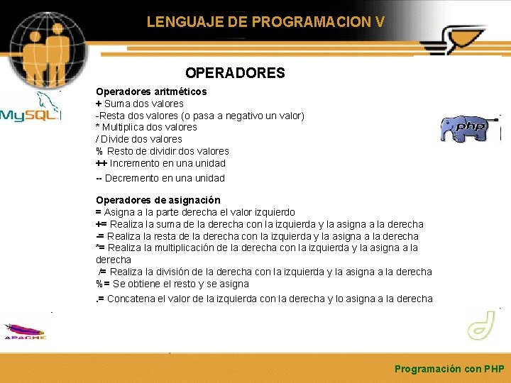 LENGUAJE DE PROGRAMACION V OPERADORES Operadores aritméticos + Suma dos valores -Resta dos valores