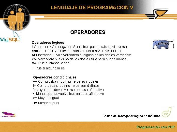 LENGUAJE DE PROGRAMACION V OPERADORES Operadores lógicos ! Operador NO o negacion. Si era