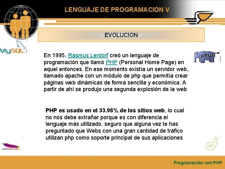 LENGUAJE DE PROGRAMACION V EVOLUCION En 1995, Rasmus Lerdorf creó un lenguaje de programación