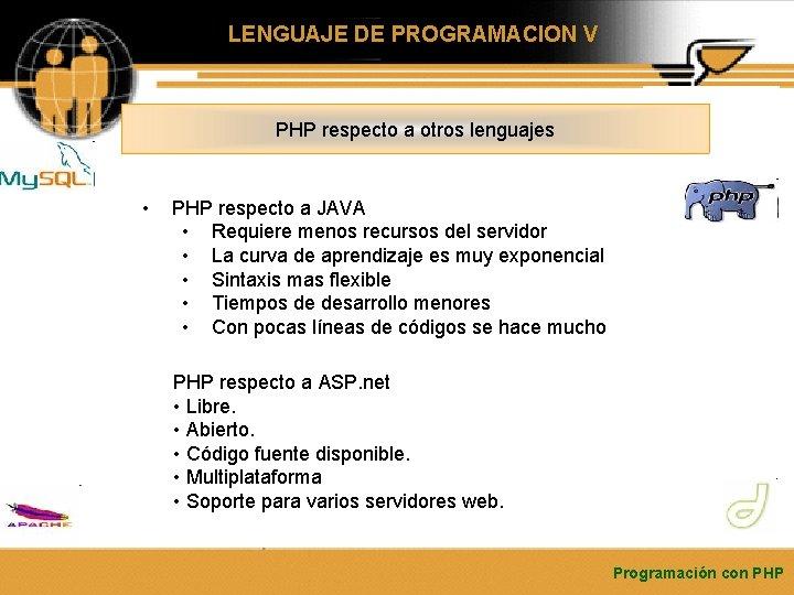 LENGUAJE DE PROGRAMACION V PHP respecto a otros lenguajes • PHP respecto a JAVA