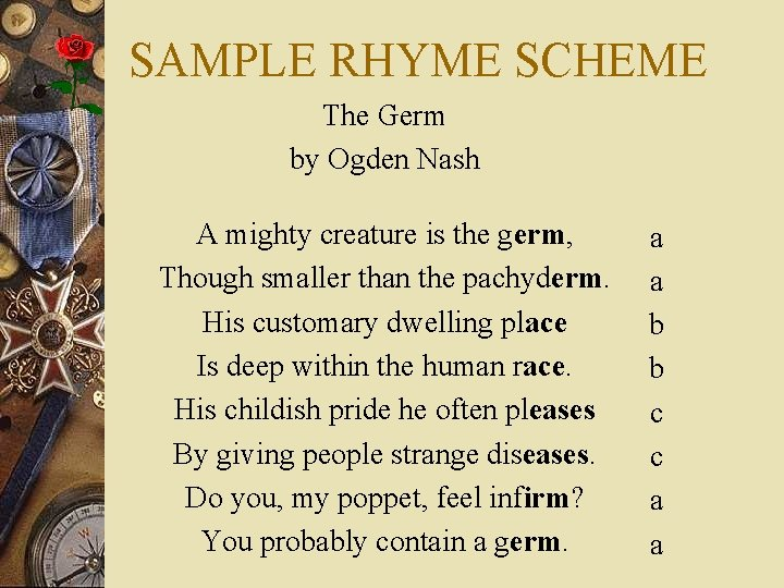 SAMPLE RHYME SCHEME The Germ by Ogden Nash A mighty creature is the germ,
