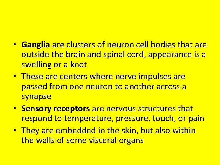 • Ganglia are clusters of neuron cell bodies that are outside the brain