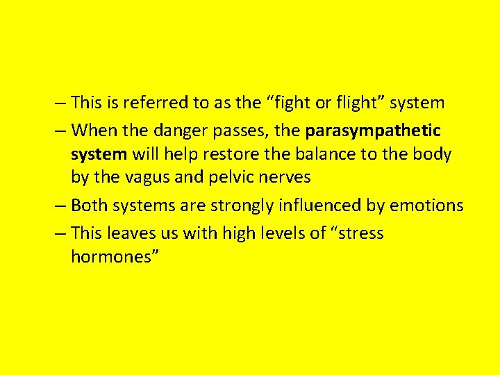 """– This is referred to as the """"fight or flight"""" system – When the"""