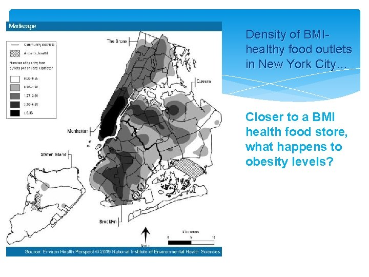 Density of BMIhealthy food outlets in New York City… Closer to a BMI health