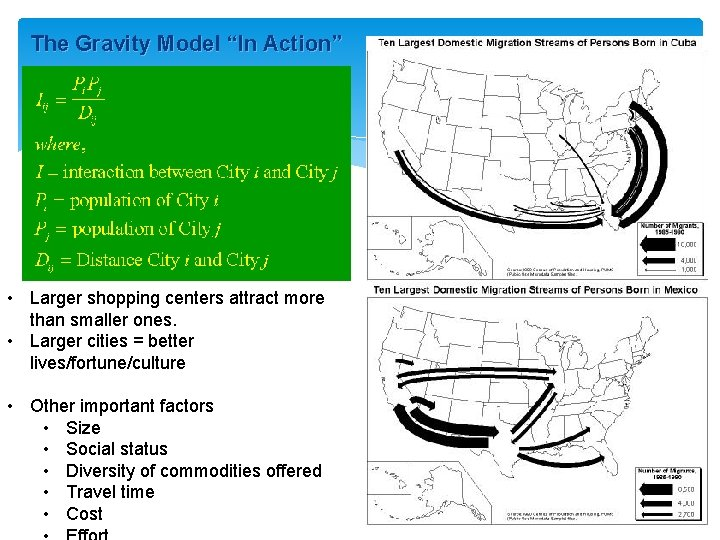 """The Gravity Model """"In Action"""" • Larger shopping centers attract more than smaller ones."""