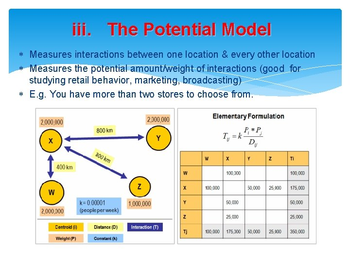 iii. The Potential Model Measures interactions between one location & every other location Measures