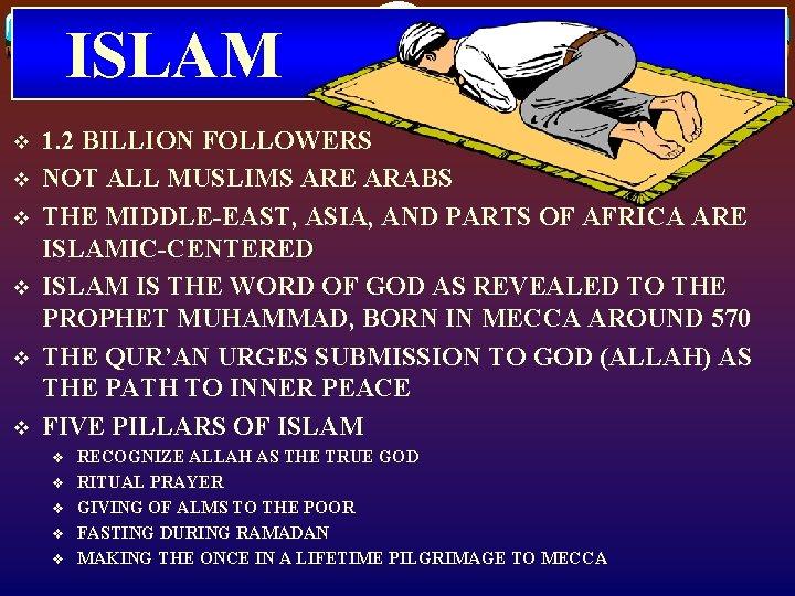 ISLAM v v v 1. 2 BILLION FOLLOWERS NOT ALL MUSLIMS ARE ARABS THE