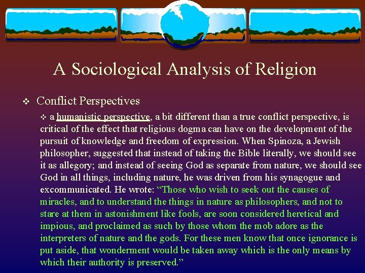 A Sociological Analysis of Religion v Conflict Perspectives v a humanistic perspective, a bit