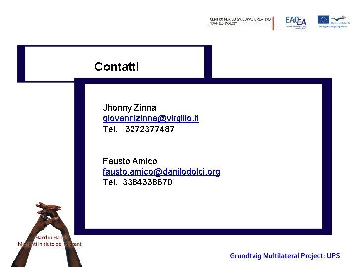 Contatti Jhonny Zinna giovannizinna@virgilio. it Tel. 3272377487 Fausto Amico fausto. amico@danilodolci. org Tel. 3384338670