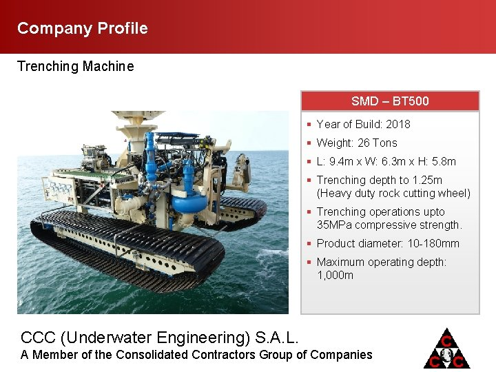 Company Profile Trenching Machine SMD – BT 500 § Year of Build: 2018 §