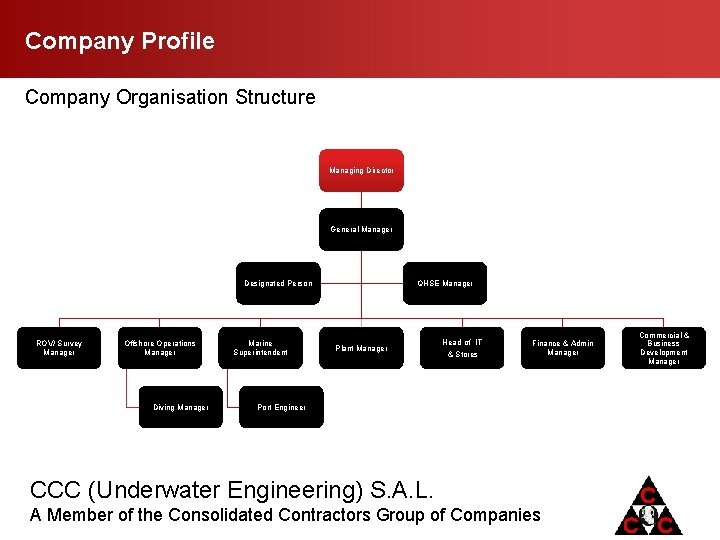 Company Profile Company Organisation Structure Managing Director General Manager QHSE Manager Designated Person ROV/