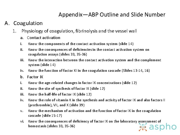 Appendix—ABP Outline and Slide Number A. Coagulation 1. Physiology of coagulation, fibrinolysis and the