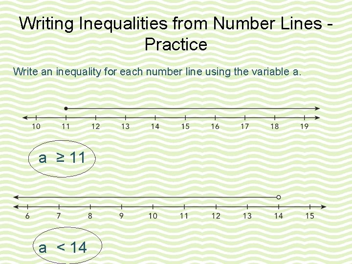 Writing Inequalities from Number Lines Practice Write an inequality for each number line using