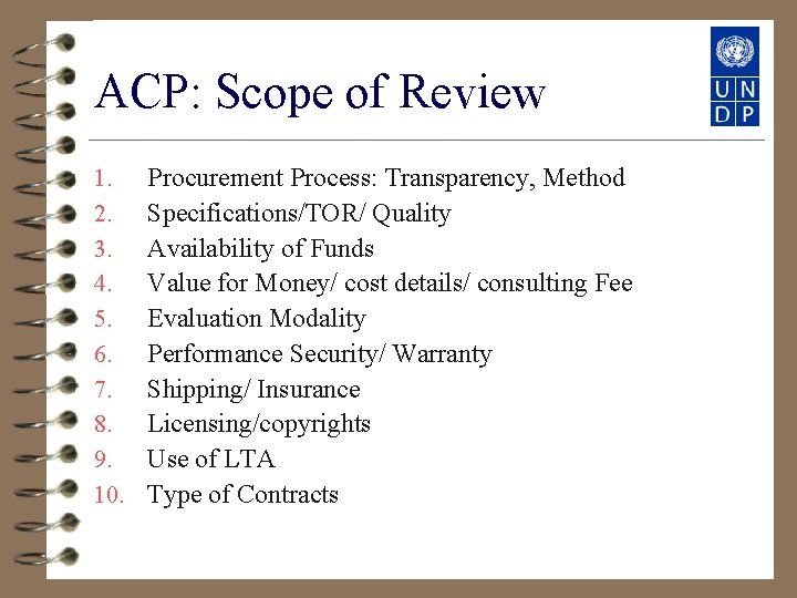 ACP: Scope of Review 1. 2. 3. 4. 5. 6. 7. 8. 9. 10.