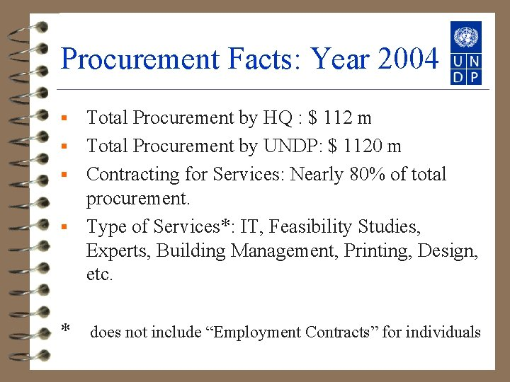 Procurement Facts: Year 2004 Total Procurement by HQ : $ 112 m § Total