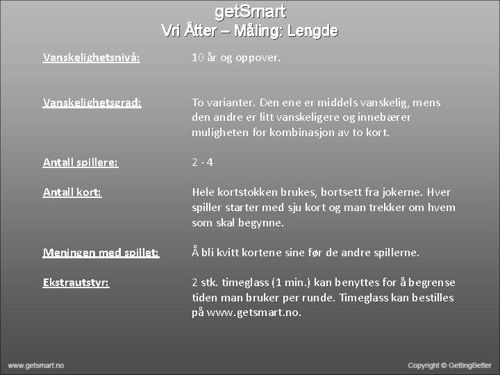get. Smart Vri Åtter – Måling: Lengde Vanskelighetsnivå: 10 år og oppover. Vanskelighetsgrad: To