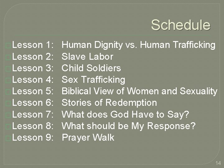 Schedule � Lesson 1: Human Dignity vs. Human Trafficking � Lesson 2: Slave Labor