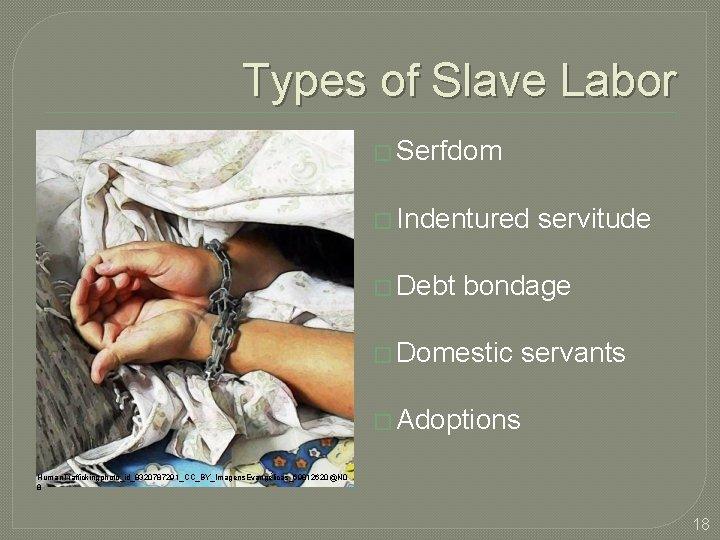 Types of Slave Labor � Serfdom � Indentured servitude � Debt bondage � Domestic