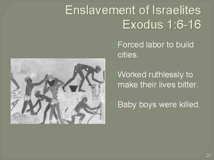 Enslavement of Israelites Exodus 1: 6 -16 � Forced labor to build cities. �