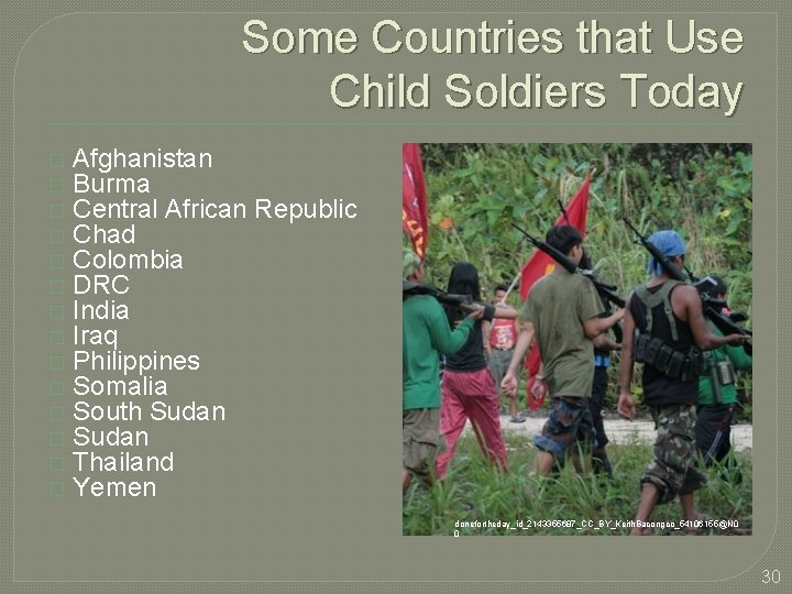 Some Countries that Use Child Soldiers Today � � � � Afghanistan Burma Central