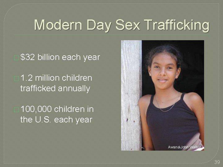 Modern Day Sex Trafficking � $32 billion each year � 1. 2 million children