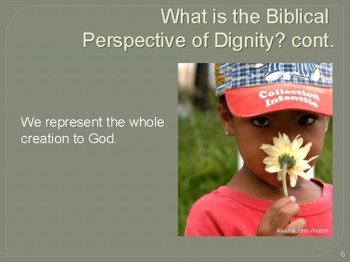 What is the Biblical Perspective of Dignity? cont. We represent the whole creation to