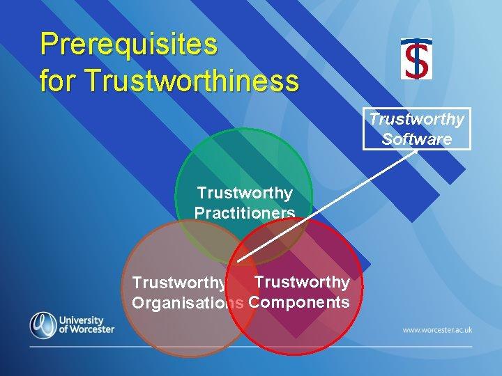 Prerequisites for Trustworthiness Trustworthy Software Trustworthy Practitioners Trustworthy Organisations Components