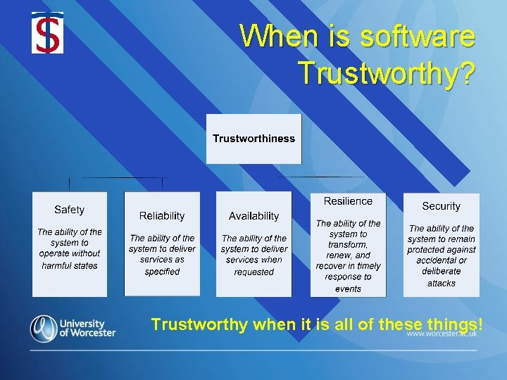 When is software Trustworthy? Trustworthy when it is all of these things!