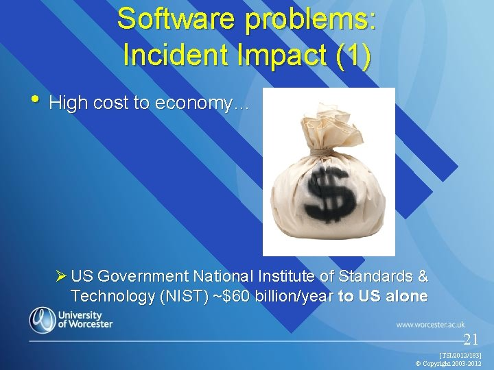 Software problems: Incident Impact (1) • High cost to economy… Ø US Government National