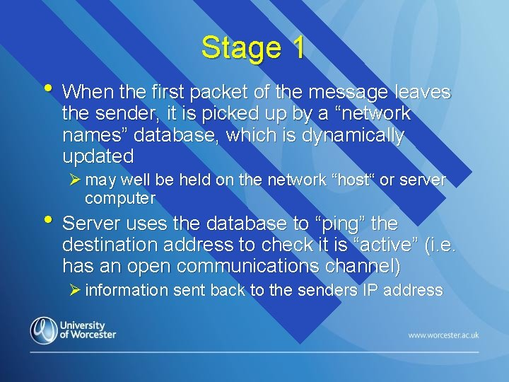 Stage 1 • When the first packet of the message leaves the sender, it