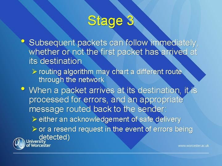 Stage 3 • Subsequent packets can follow immediately, whether or not the first packet