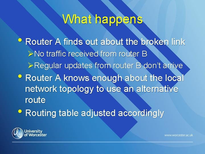 What happens • Router A finds out about the broken link ØNo traffic received