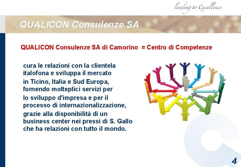 QUALICON Consulenze SA di Camorino = Centro di Competenze cura le relazioni con la