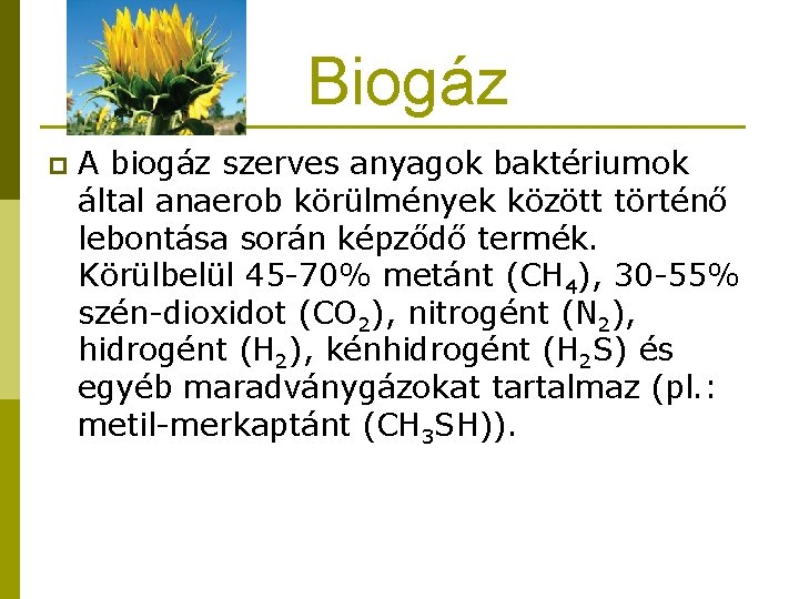 Biogáz p A biogáz szerves anyagok baktériumok által anaerob körülmények között történő lebontása során